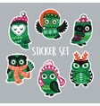 Set of stickers with Christmas owls in knitted vector image vector image