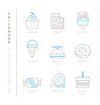 set of sweet food icons and concepts in mono thin vector image vector image