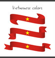 set of three modern colored vietnamese ribbon vector image vector image