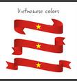 set of three modern colored vietnamese ribbon vector image vector image