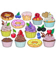 set sweet desserts cakes vector image
