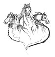 tattoo art design horse racing in line art vector image vector image