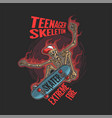 teenager skeleton playing extreme skate vector image vector image