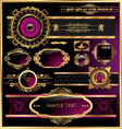 vintage black gold and pink frame label vector image vector image
