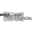 what to look for in a broker text word cloud vector image vector image