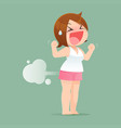 woman farting with blank balloon vector image vector image