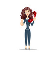 woman talking on a phone and showing victory sign vector image