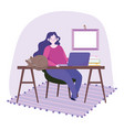working remotely young woman with laptop and cat vector image vector image