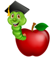 Worm wearing a graduation cap crawling out of an a vector image vector image