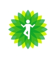 Yoga Lotus Green Icon with People Silhouette vector image vector image