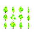 polygon trees set low poly style vector image