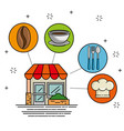 facade restaurant cartoon vector image