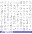 100 post icons set outline style vector image