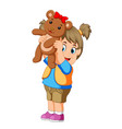 a girl happy play with thw brown teddy bear vector image vector image