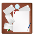 A Pencil and Magnifying Glass on Blank Page vector image vector image