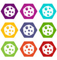 alone planet icon set color hexahedron vector image vector image