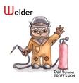 Alphabet professions Owl Letter W - Welder vector image vector image