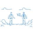 businessman giving money envelope colleague for vector image