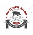 butcher meat shop badge or label with pig pork vector image vector image
