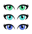 cartoon woman eyes set isolated on white vector image vector image