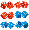 casino dice set authentic icons red and blue vector image