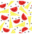 cheese and tomatoes seamless background vector image