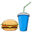 cheeseburger and drink in paper cup hand drawn vector image