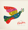 christmas and new year colorful bird greeting card vector image vector image