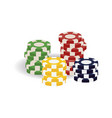colorful realistic casino gaming tokens in piles vector image vector image