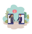 couple business in smartphone with speech vector image vector image