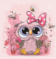 cute owl with flowers and butterflies vector image vector image