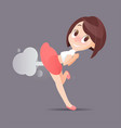 cute woman farting with blank balloon vector image vector image