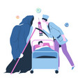 doctor fight against grim reaper for life vector image