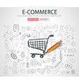 E-commerce Concept with Doodle design style vector image vector image