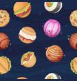 food planets pattern fantastic space world with vector image