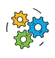 gears colorful icon isolated on white background vector image vector image
