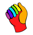 glove in rainbow colors icon icon cartoon vector image vector image