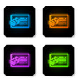 glowing neon financial document line icon vector image