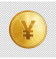 Golden yuan coin symbol vector image