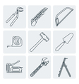 grey outline house remodel tools icons vector image vector image