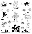 Halloween zombie castle tomb cat in doodle vector image vector image