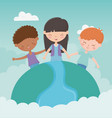 happy childrens day girls and boy world diversity vector image