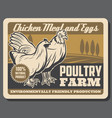hen and rooster poultry farm chicken meat eggs vector image