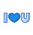 i love you line icon vector image vector image