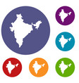 indian map icons set vector image vector image