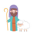 joseph and sheep manger nativity merry christmas vector image vector image