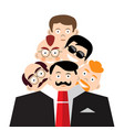 men faces in suit schizoid personality concept vector image vector image