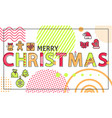 merry christmas banner with bright linear figures vector image