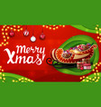 merry christmas red and green discount banner in vector image