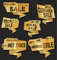 modern golden origami sale stickers and tags vector image vector image